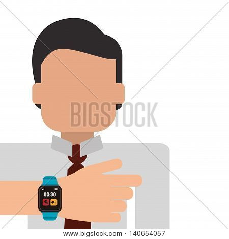 flat design person using smart watch icon vector illustration