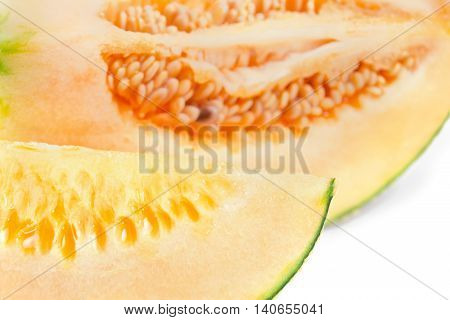 Cucumis Melo Or Melon With Half And Seeds On White (other Names Are Cantelope, Cantaloup, Honeydew,