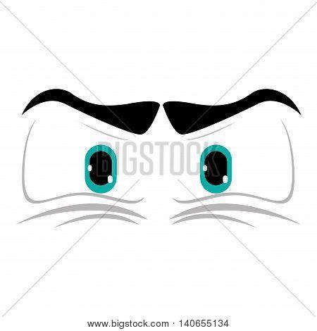 flat design angry cartoon eyes icon vector illustration