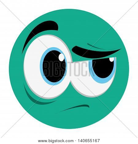 flat design side eye face emoticon icon vector illustration