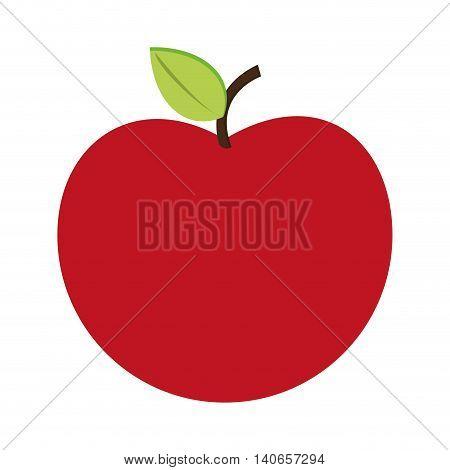 flat design whole apple icon vector illustration