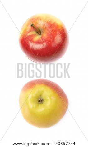 Single ripe red and golden jonagold apple isolated over the white background, set of two different foreshortenings