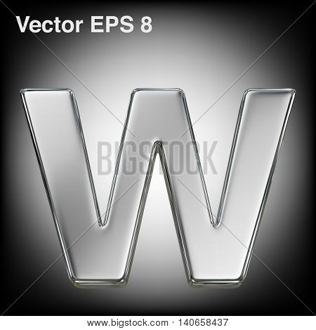 Vector letter w from metal alphabet. Lowercase metal font collection. EPS 8