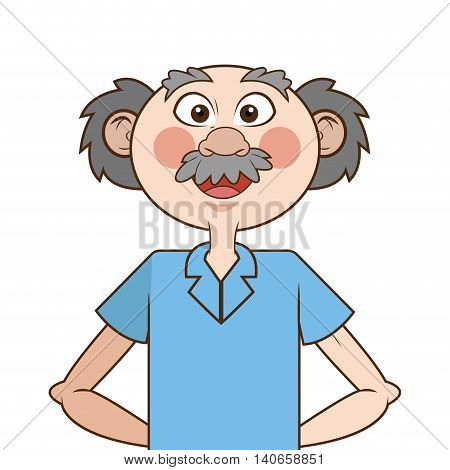 flat design caucasian senior man icon vector illustration