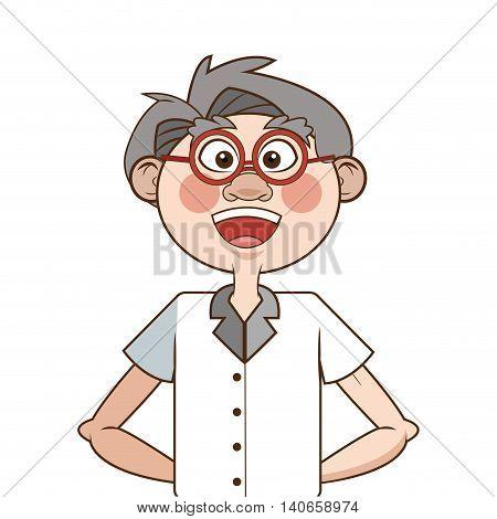 flat design caucasian senior man icon vector illustration