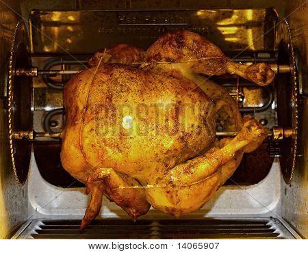 Chicken In Rotisserie Front View