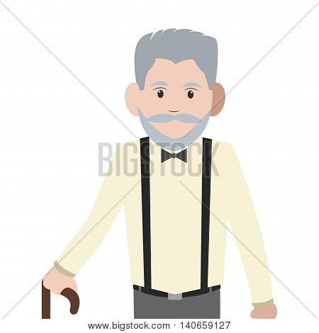 flat design caucasian senior man with cane icon vector illustration