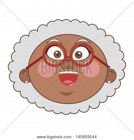 flat design dark skin senior woman icon vector illustration