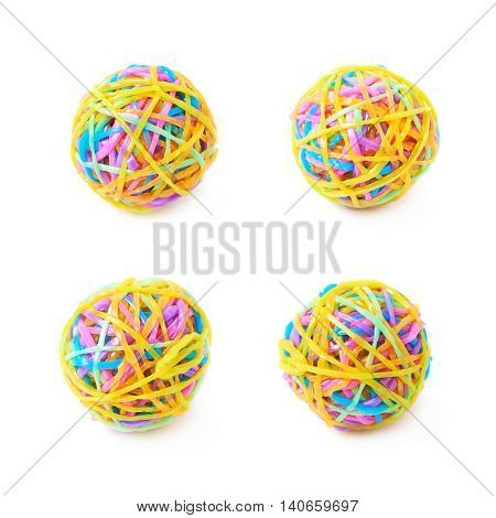 Ball made of colorful rubber loom bands isolated over the white background, set of four different foreshortenings