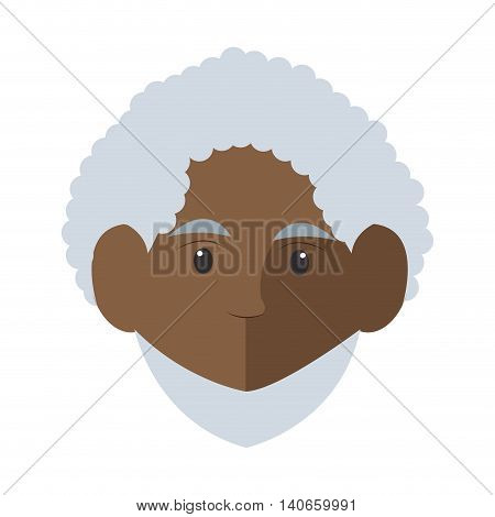 flat design dark skin senior man icon vector illustration