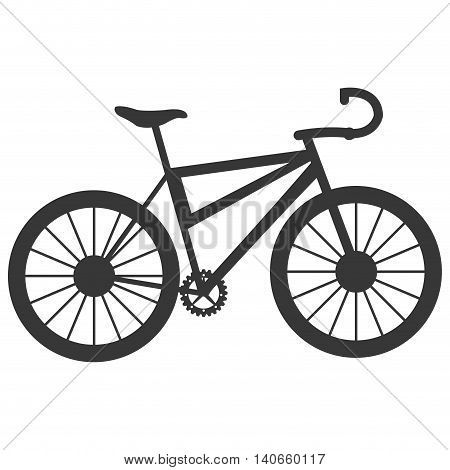 flat design single bike icon vector illustration