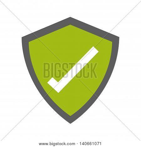 flat design shield with check mark icon vector illustration