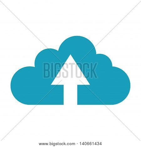 flat design upload up arrow cloud icon vector illustration