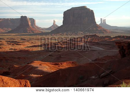 buttes casting early morning shadows in Monument Valley