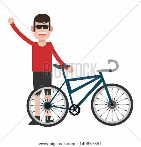 flat design man wearing sunglasses with bike icon vector illustration