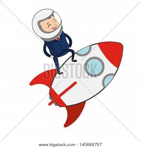 flat design businessman on rocket icon vector illustration