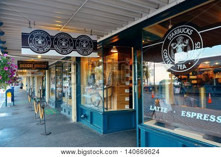 SEATTLE, WA - AUG 14: The first Starbucks Coffee shop on August 14, 2015 in Seattle. Seattle is the largest city in both the State of Washington and the Pacific Northwest region of North America
