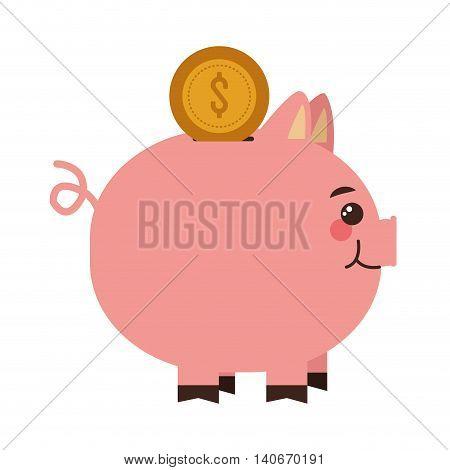 flat design piggy bank icon vector illustration