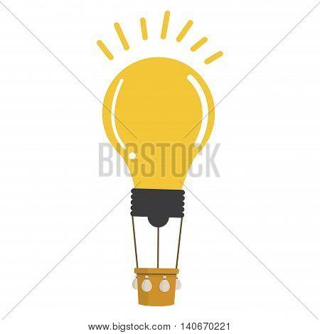 flat design lightbulb hot air balloon icon vector illustration