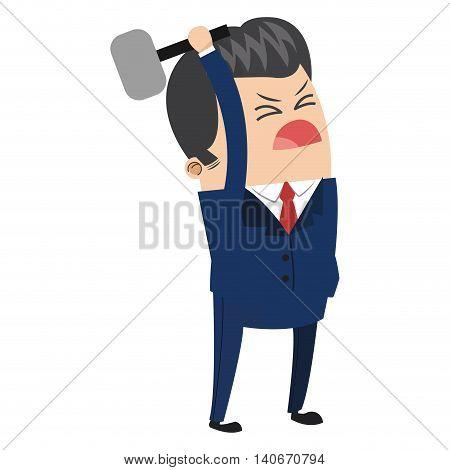 flat design cute businessman holding hammer icon vector illustration