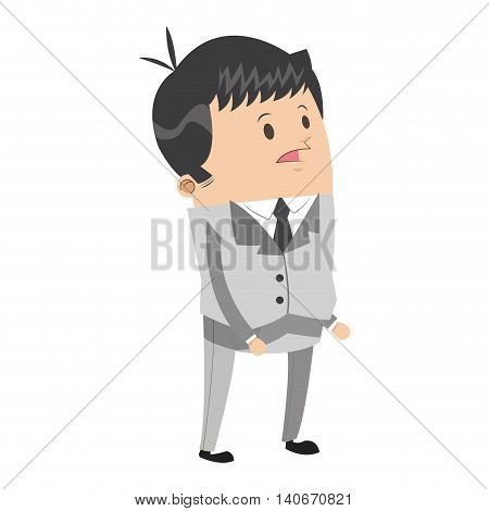 flat design cute businessman icon vector illustration