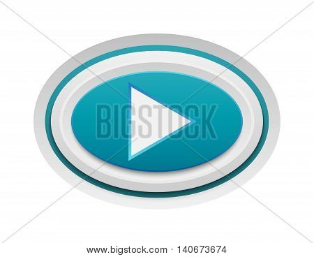UI interface buttons play media. Vector internet play button positive isolated. Website accept play button success mark approved tick concept. Correct shiny sign.