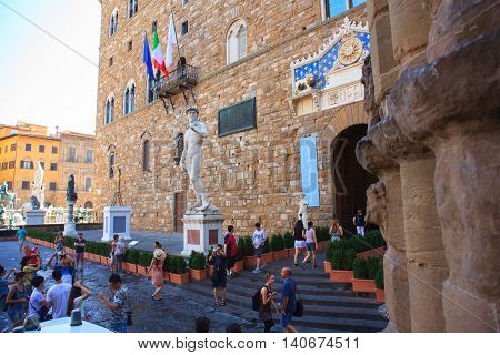 FLORENCE ITALY - JULY 12: View of the David of Michelangelo in the Signoria square on July 12 2016