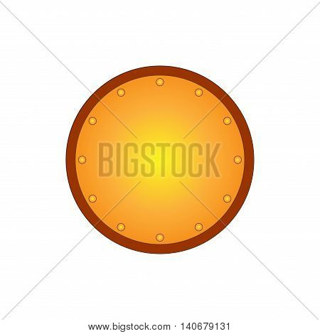 Sign shield gold. Round protection icon isolated on white background. Mark with volume effect. Symbol of a bronze guard. Colorful element. Logo for military and security. Stock vector illustration