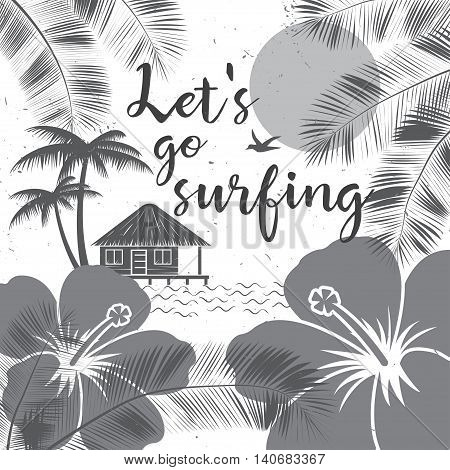 Let's Go Surfing Design. Vector Summer Surfing Retro Banner. Surfing Concept For Shirt Or Logo, Prin