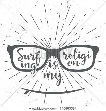 Surfing Is My Religion. Vector Summer Surfing Retro Design. Concept For Shirt Or Logo, Print, Stamp
