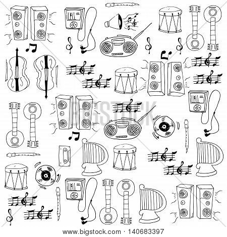 Doodle of stock music element vector illustration