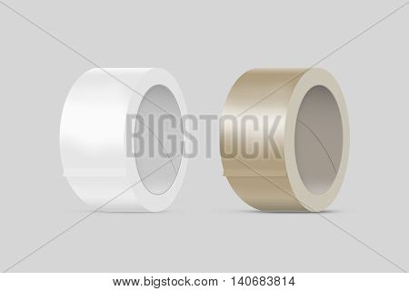 Blank white and yellow duct adhesive tape mockup clipping path 3d illustration. Sticky scotch roll design mock up. Clear glue tape template. Packing insulating tape display.