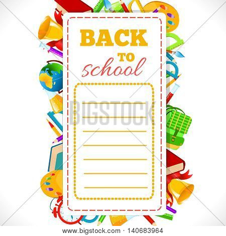 Timetable with inscription Back To School on background of school supplies.Vector illustration.School schedule Back to School phrase and school accessories composition.Education and web design concept