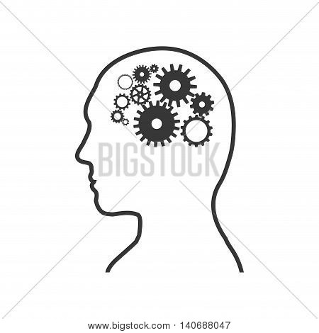 Human head and think concept represented by man and gears icon. Isolated and flat illustration