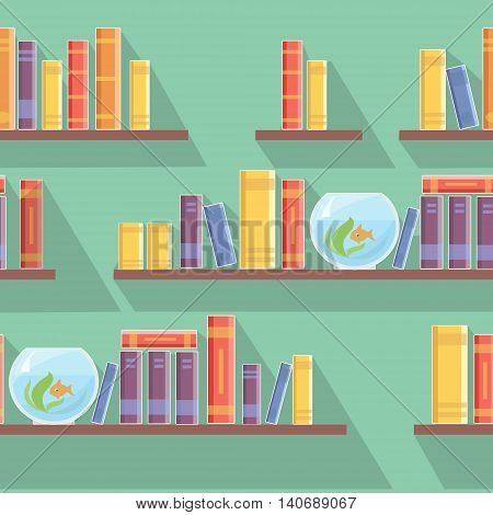 seamless pattern bookshelves, books or bookshop illustration