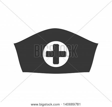 Medical and health care concept represented by nurse hat silhouette icon. Isolated and flat illustration