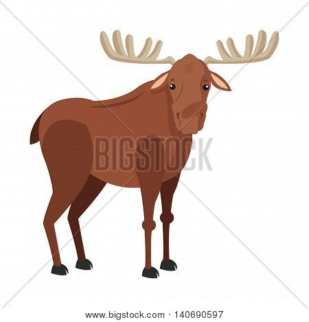 flat design single moose icon vector illustration