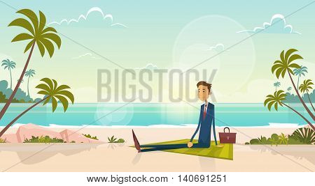 Business Man On Summer Vacation Sea Shore Sit Sand Beach Blue Sky Sun Vector Illustration