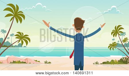 Business Man On Summer Vacation Sea Shore Sit on Sand Beach Blue Sky Sun Vector Illustration