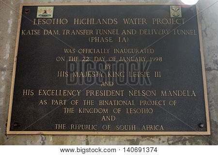 Bokong Lesotho - July 16, 2016: The sign on the office of Katse Dam in Lesotho Southern Africa. Lesotho Highlands Water Project of the Kingdom of Lesotho and the Republic of South Africa.