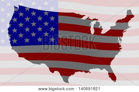 An outline silhouette map of The United States of America over a Stars and Stripes flag