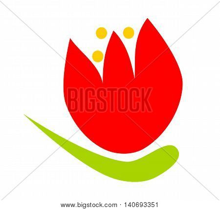 Simple stylized cartoon flower tulip in red yellow green pure colors - digital flat illustration