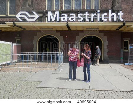 Maastricht Holland July 14 2016: Closeup of Maastricht Railway station entrance