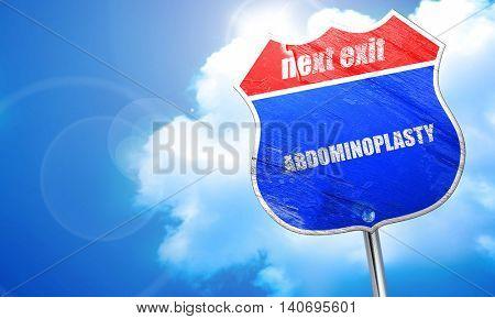 abdominoplasty, 3D rendering, blue street sign