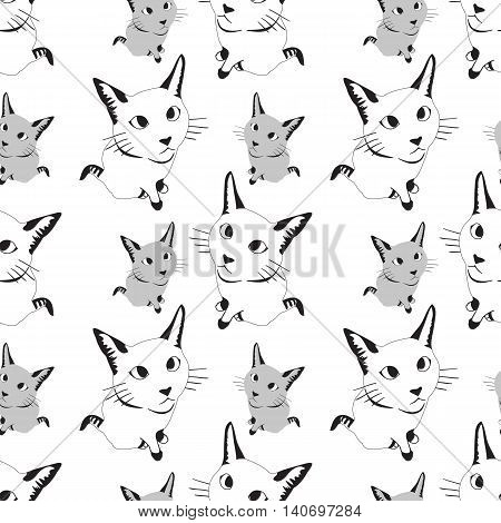 Seamless monochrome pattern with cats. Stock vector illustration.