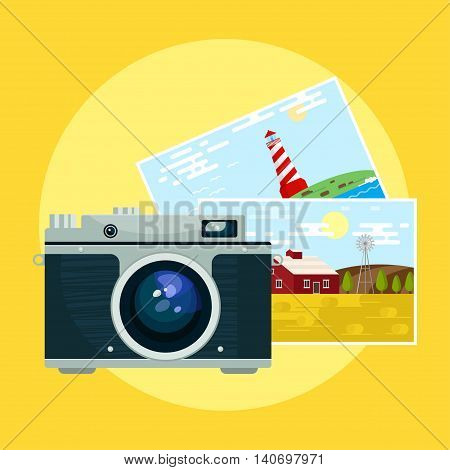 Vector illustration of vintage camera and pix.