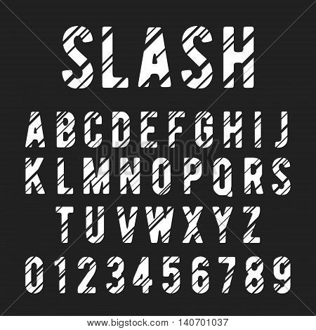 Alphabet font template. Letters and numbers slashed design. Vector illustration.