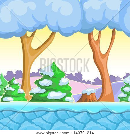 Seamless cartoon winter landscape, with snow trees, mountains, ice and sky layers.