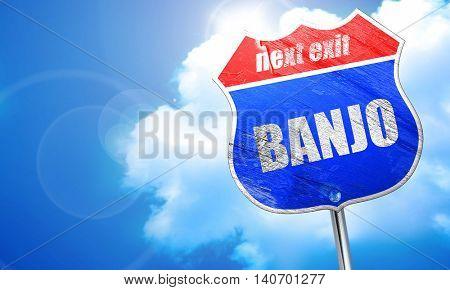 banjo, 3D rendering, blue street sign