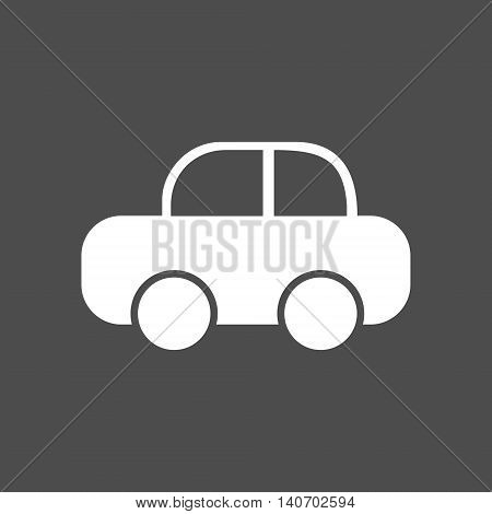 Simple funny childish car silhouette icon. Isolated vector illustration.